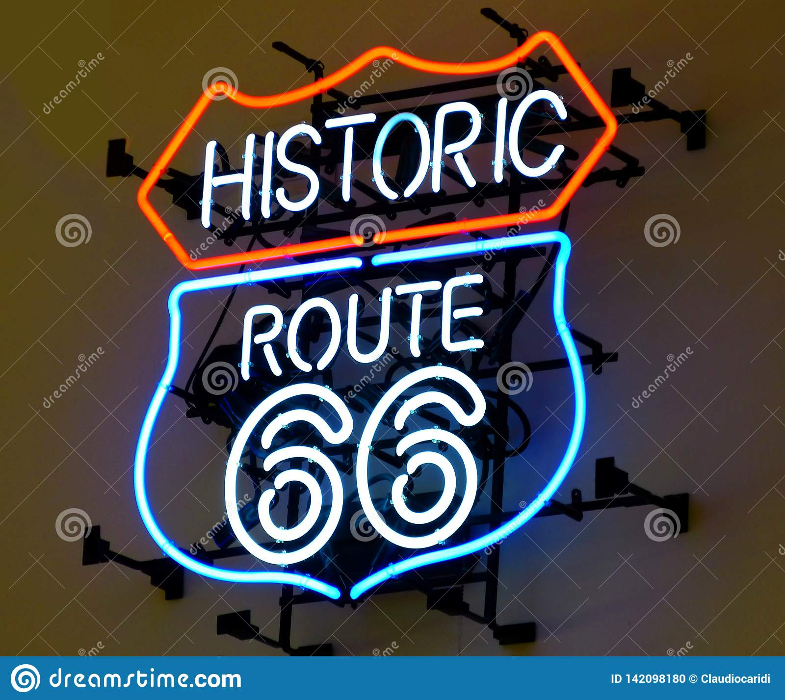 Historic Route 66, neon sign in red and blue light