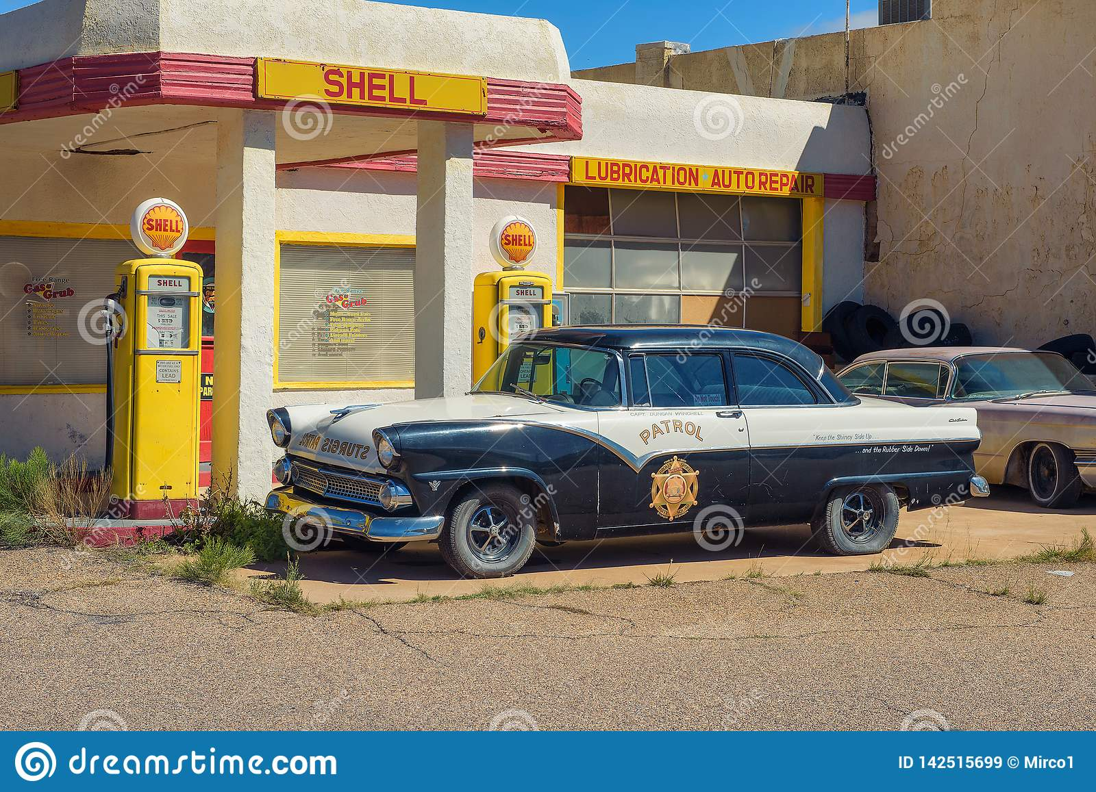 Historic Shell gas station in the abandoned mine town of Lowell, Arizona