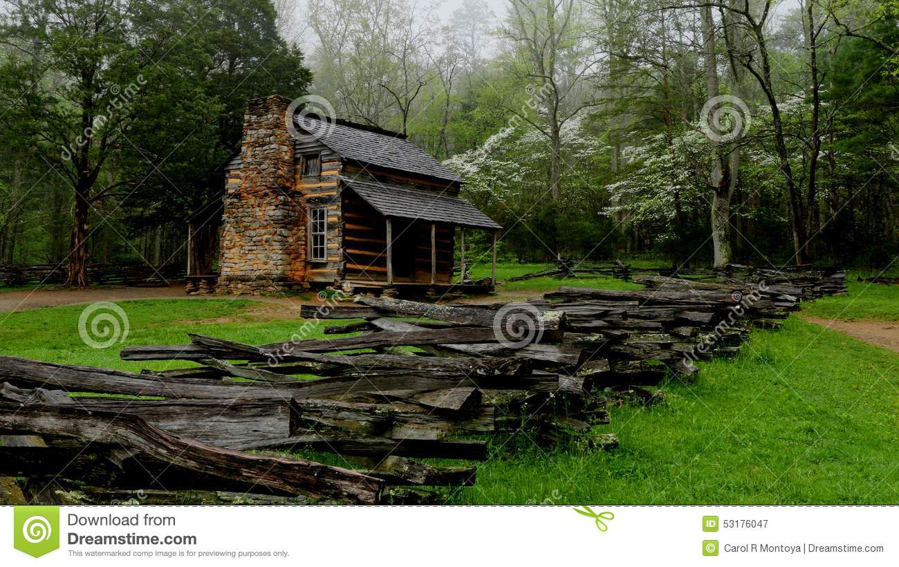 Smoky Mountain Cabin Stock Photo Image 53176047
