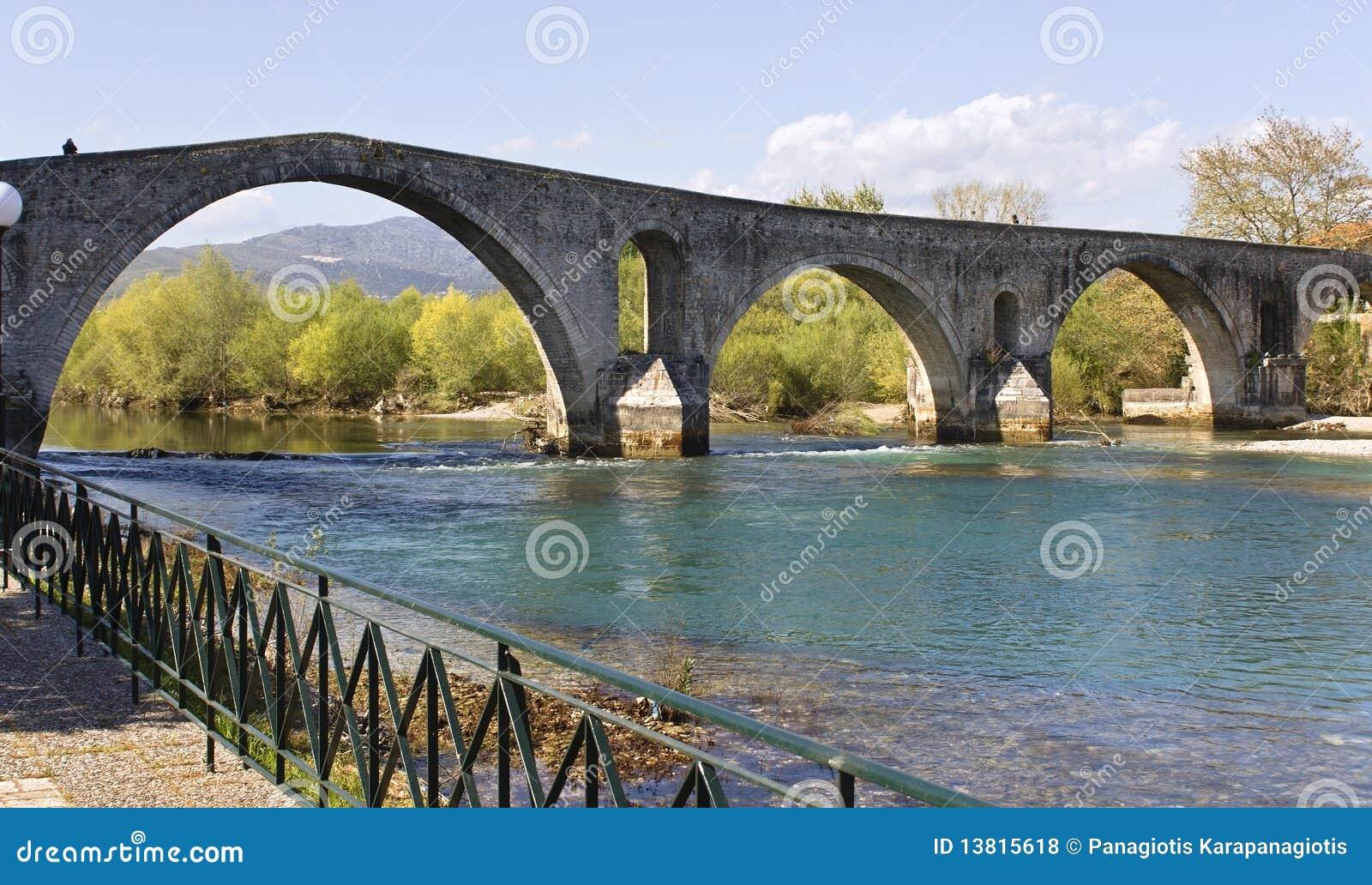 Historic Stone Bridge Of Arta At West Greece Royalty Free