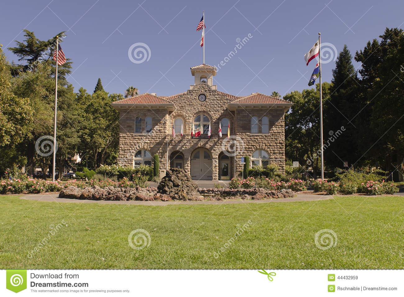 Historic stone city hall of sonoma stock image image of america royalty free stock photo voltagebd Gallery