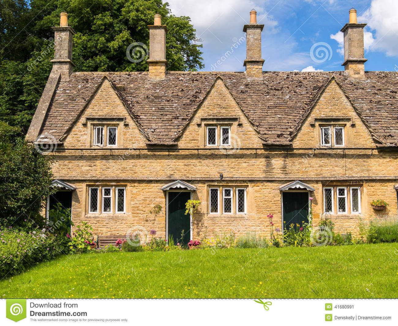 Historic terraced houses in an english village stock photo for English terrace