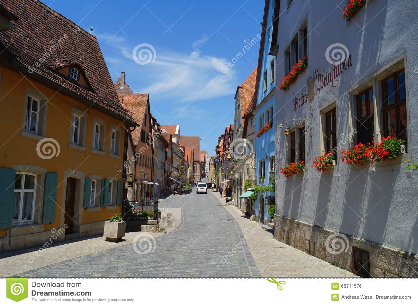 Historic town shopping street in Rothenburg ob der Tauber