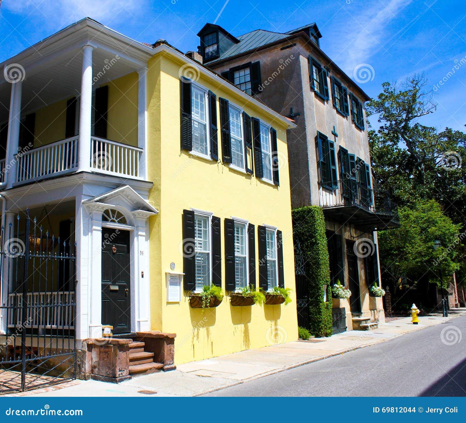 Charleston Sc Homes: Historic Tradd Street, Charleston, SC. Editorial Stock