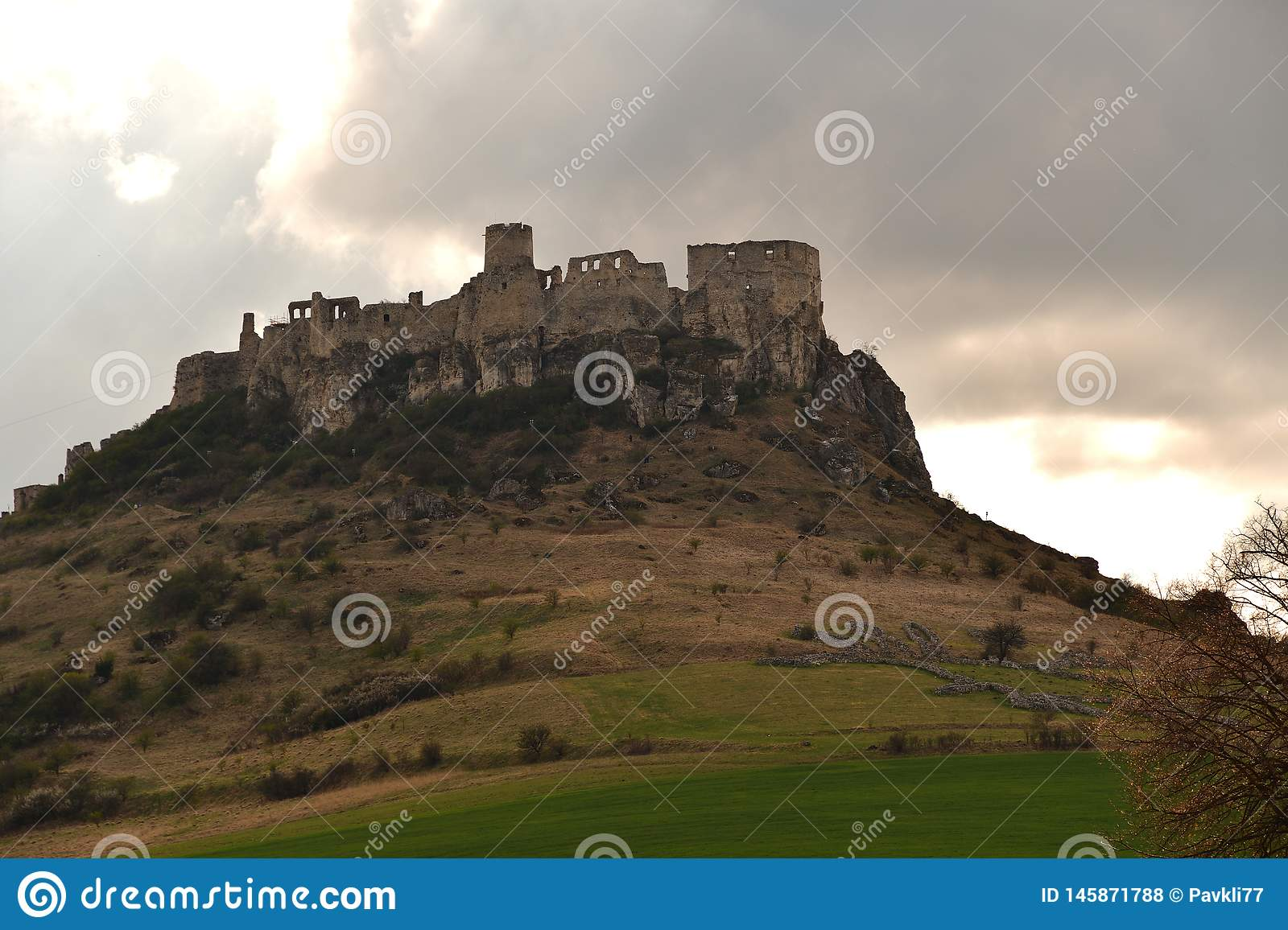 Walls of the ruin of a historic castle in the countryside Spis Slovakia