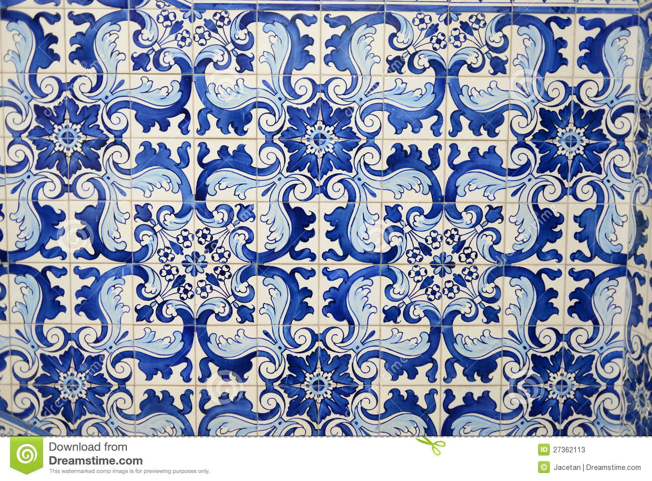 Historical Blue Tiles From Oriental China Asia Stock