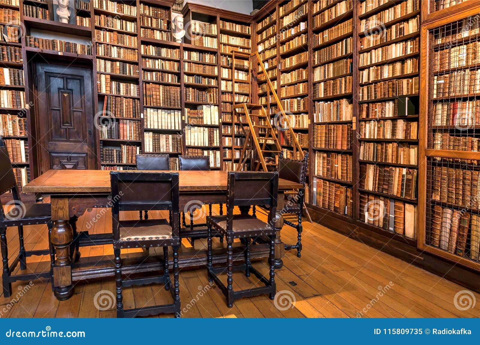 Historical Bookshelves Full Of Antique Books Inside Printing Museum