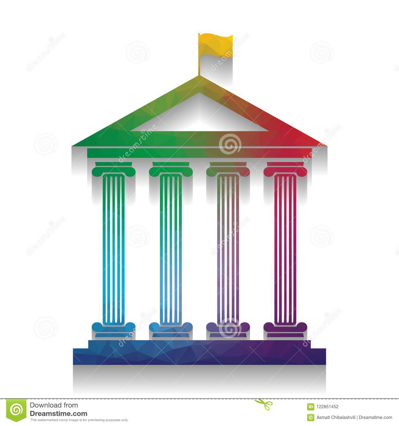 Historical building with flag. Vector. Colorful icon with bright