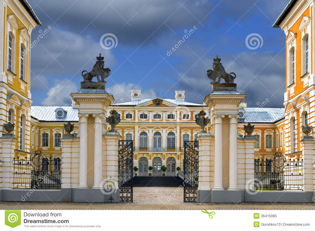 Entrance to historical building of Rundale palace, Latvia