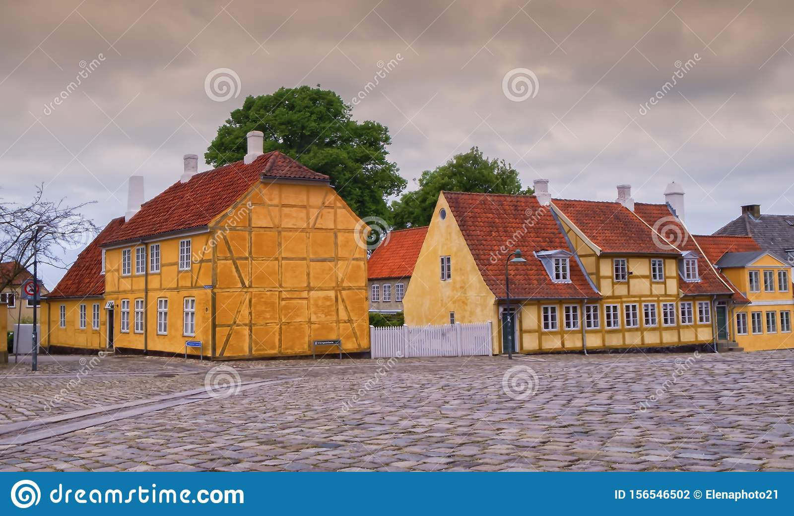 Historical colorful danish buildings in Roskilde, Denmark