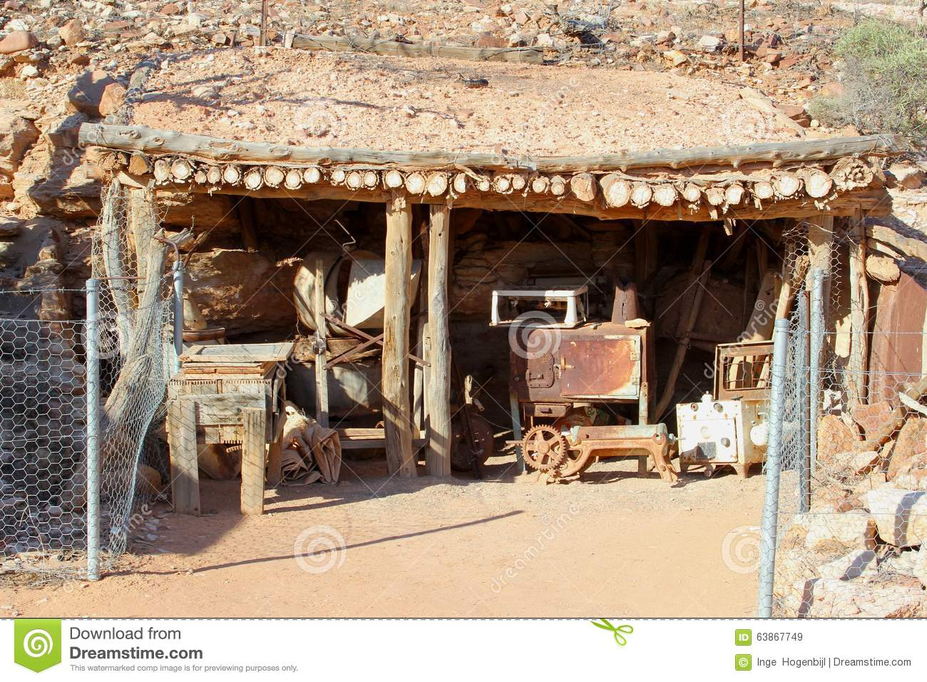 historical cottage of opal miners in andamooka  south australia stock image