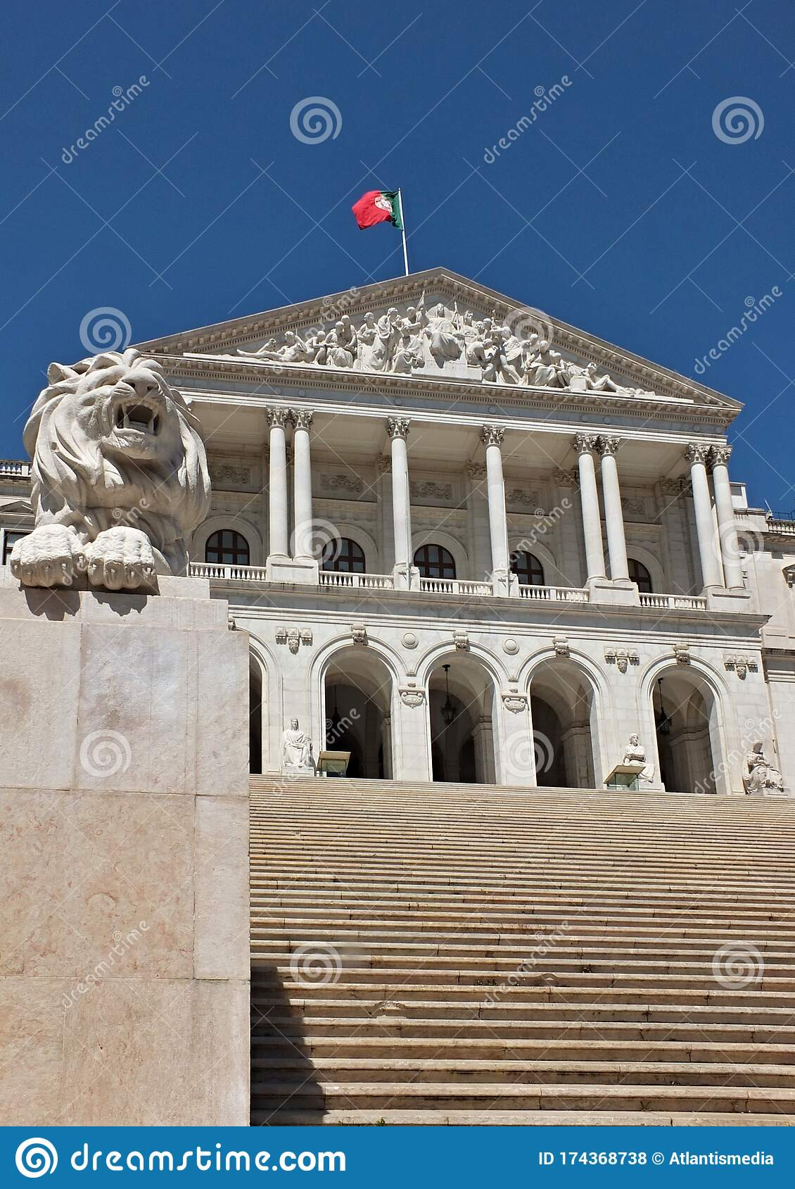 Historical Facade Of The Portugal Government In Lisbon Portugal Stock Photo Image Of Building Front 174368738