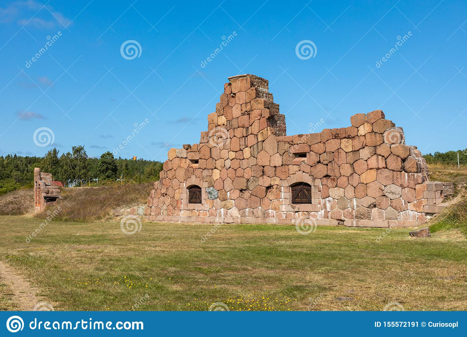Historical fortified site of Bomarsund. Ruins of fortress. Finland war heritage. Aland islands, Finland. Europe