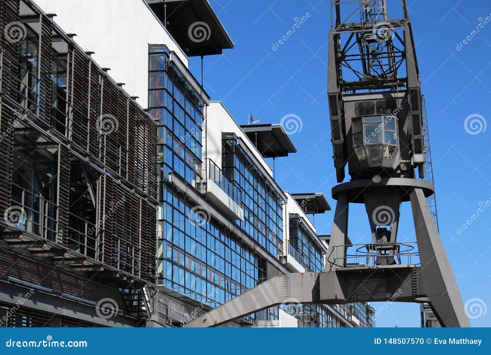 Historical harbor cranes at the Port of Hamburg