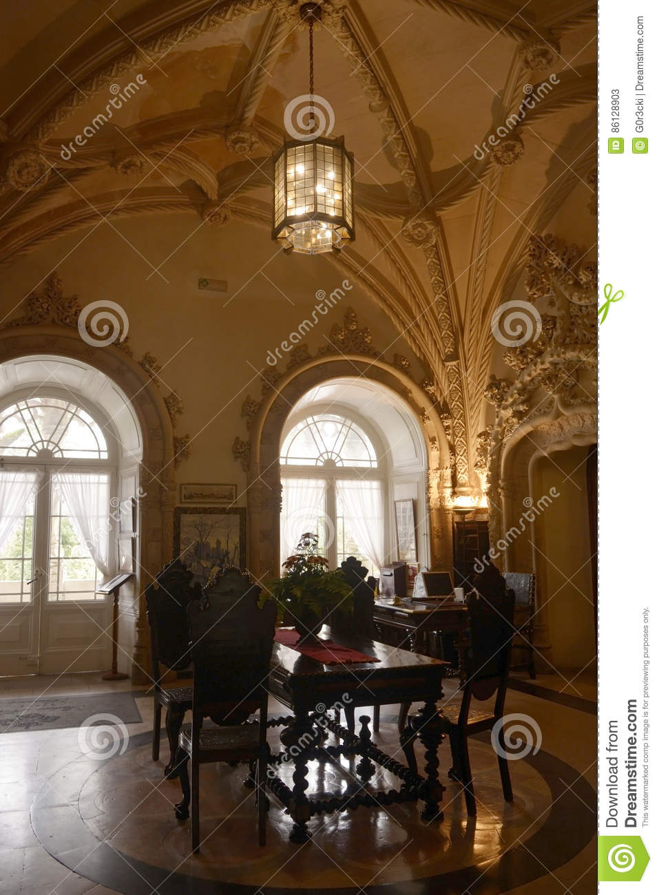 Hotel lobby from bussaco palace historical building vaulted ceiling