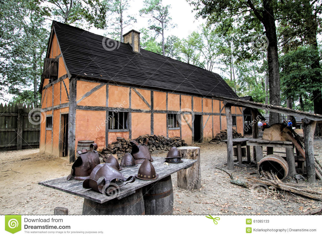Historical Jamestown Virginia Building And Artifacts Stock