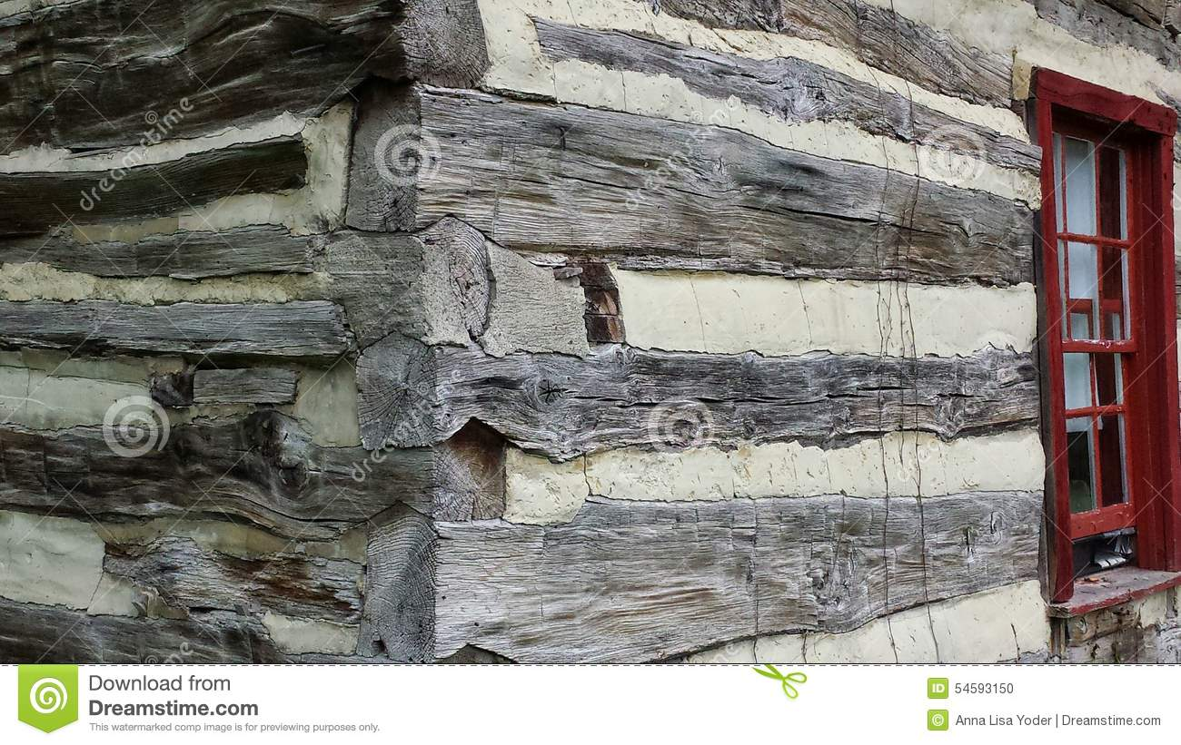 Historical log cabin exterior corner and window stock for Hand hewn log cabin