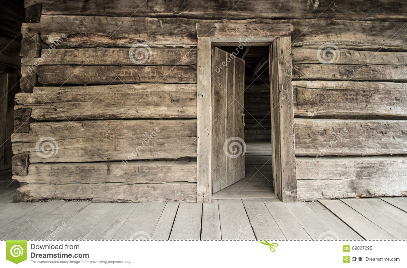 Historical Log Cabin With Open Front Door Stock Image - Image ...