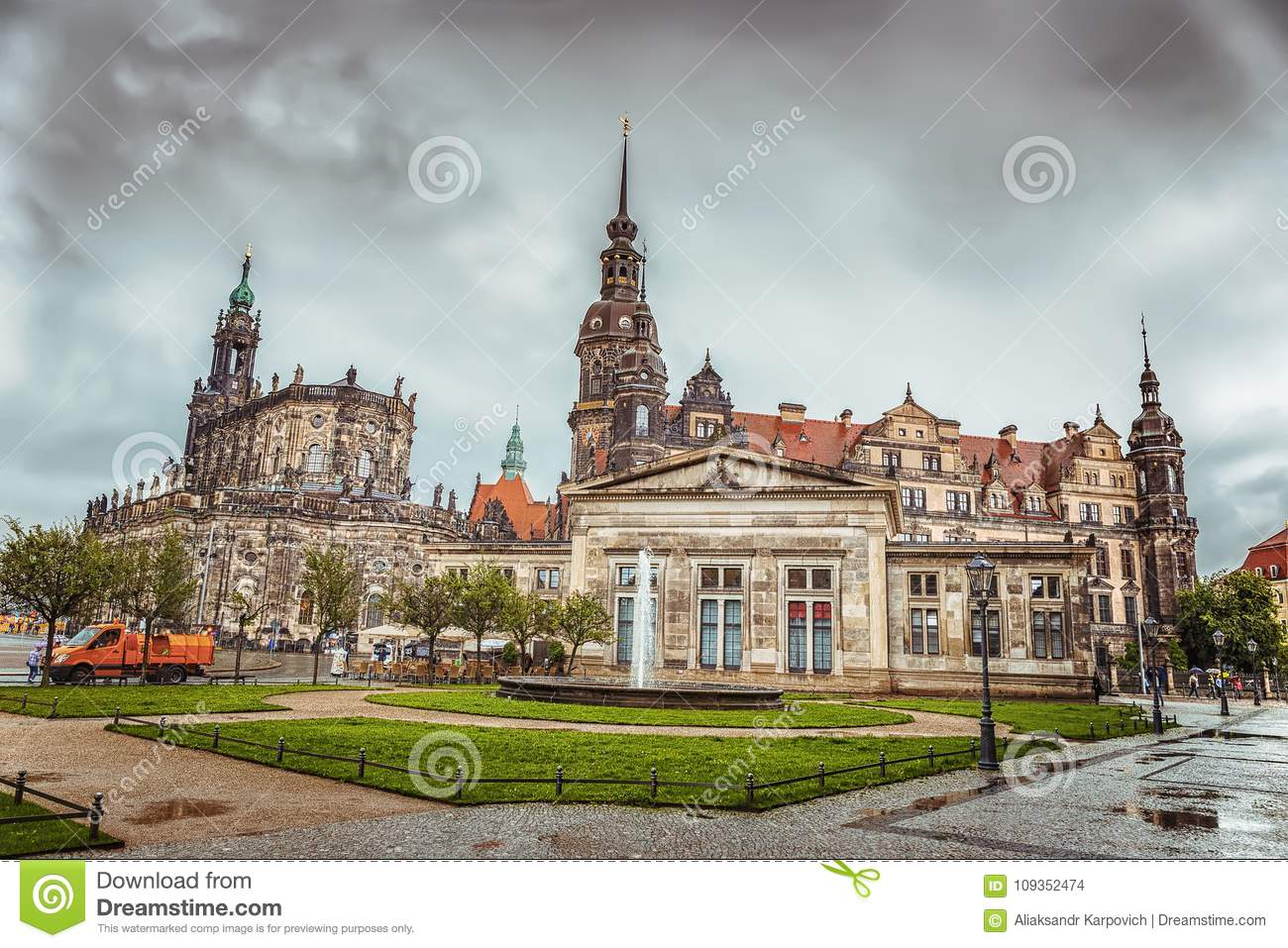 The historical part of the city of Dresden after the rain. Zwinger. Germany