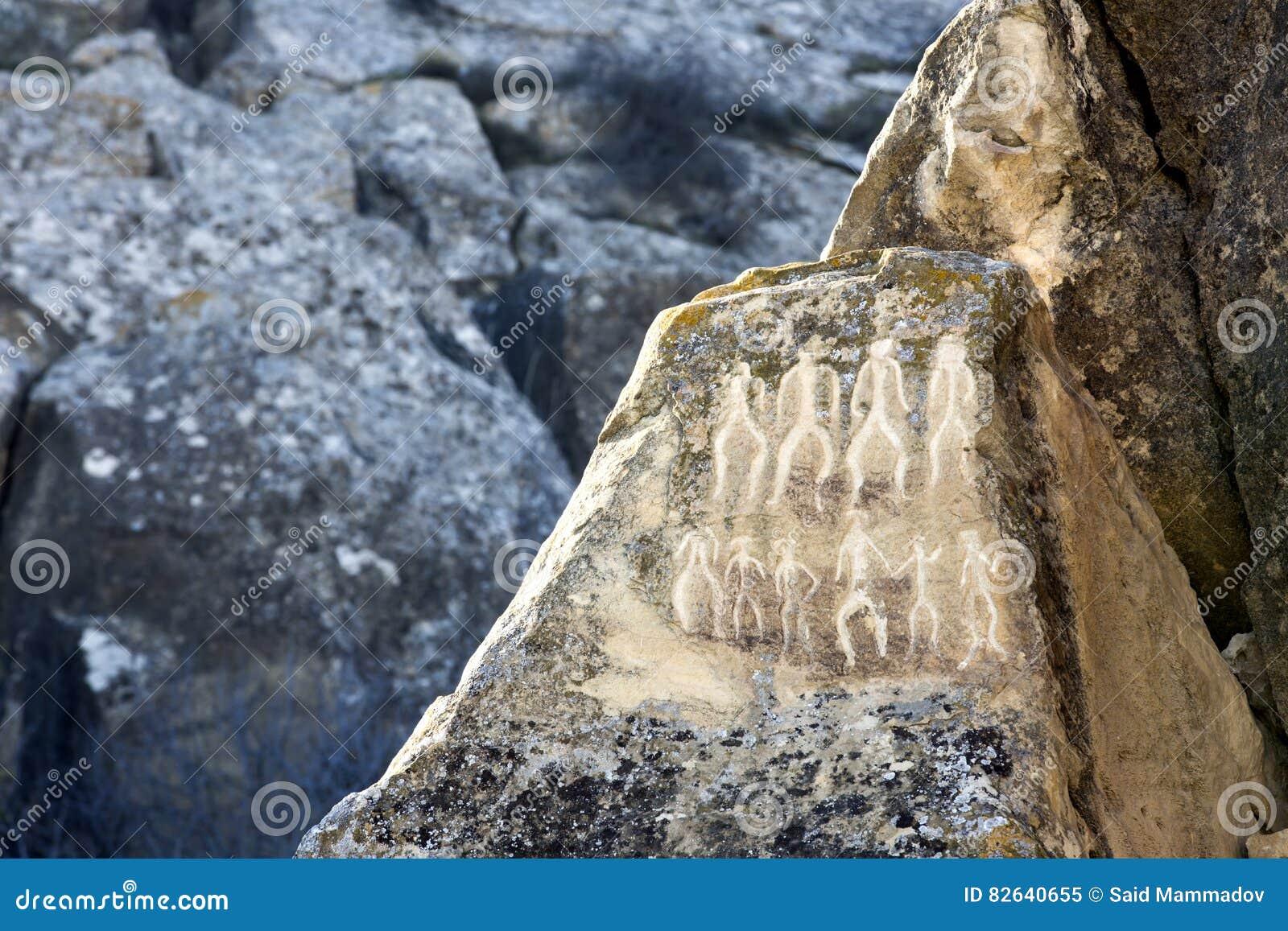 Historical petrographs. Carvings dating back 10 000 BC