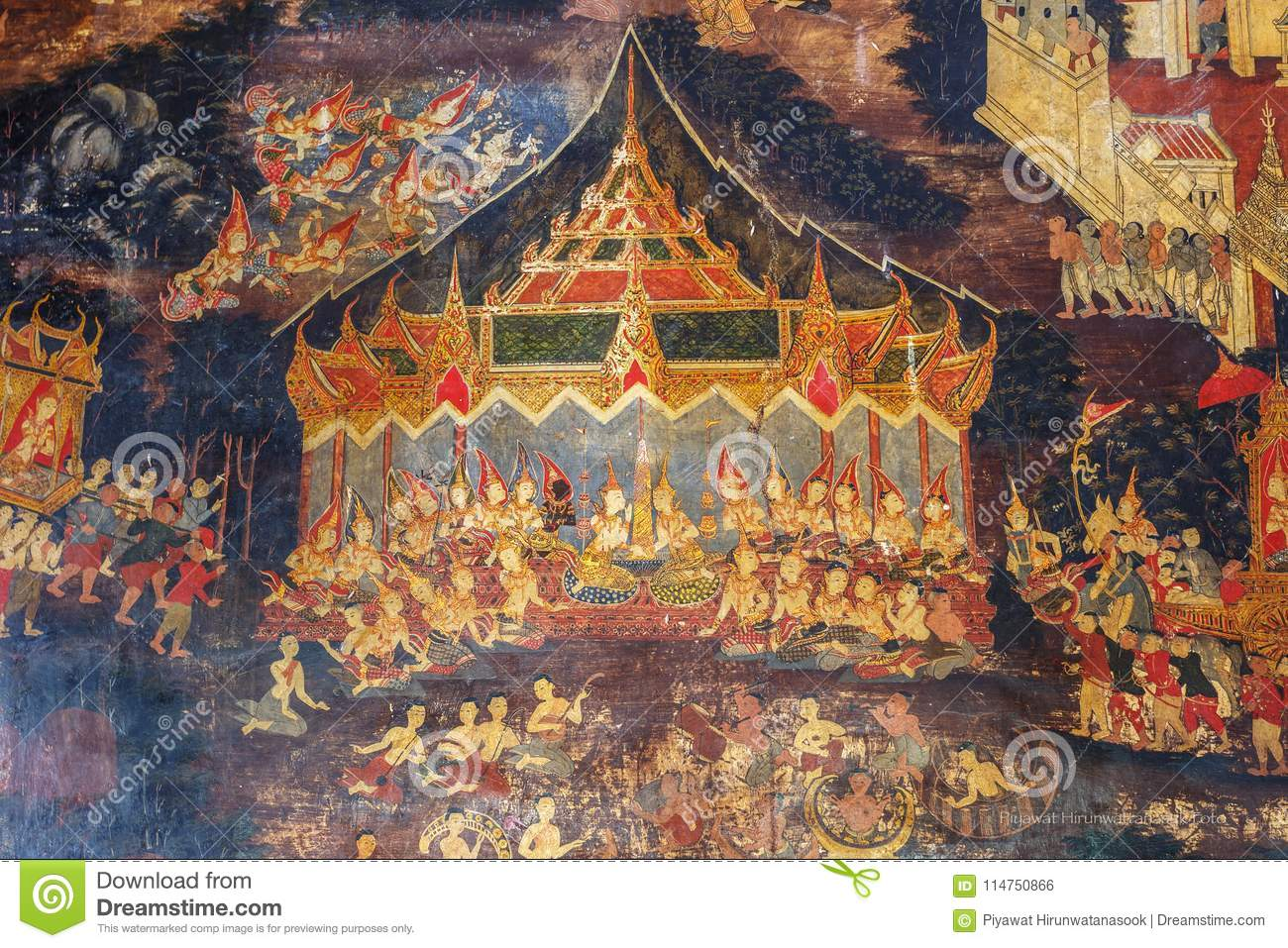 Historical place, Wat Ubosatharam. The temple houses many artifacts such as wall murals representing the style of early Rattanakos