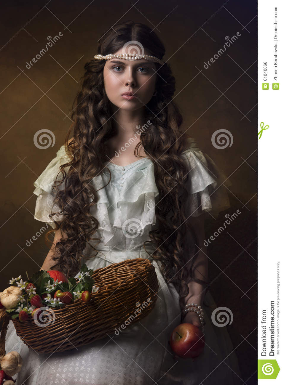 Historical portrait of a girl with fruits