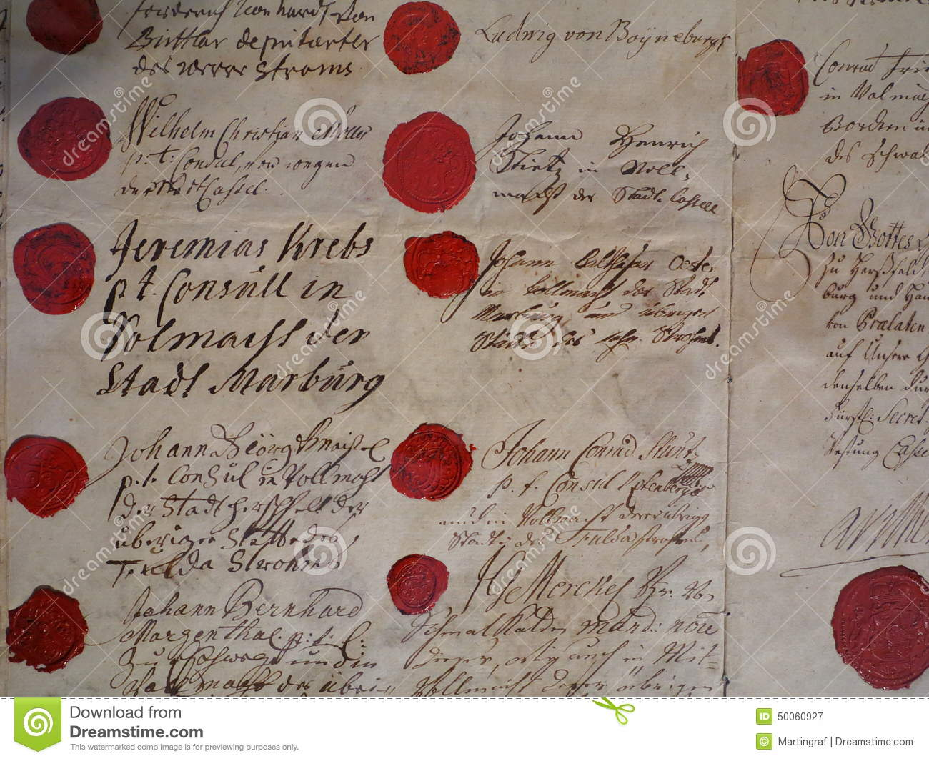 red wax seals with historic signatures stock photo image