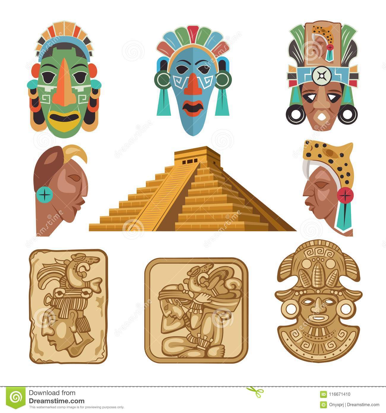 Historical Symbols Of Mayan Culture Religion Idols Stock Vector