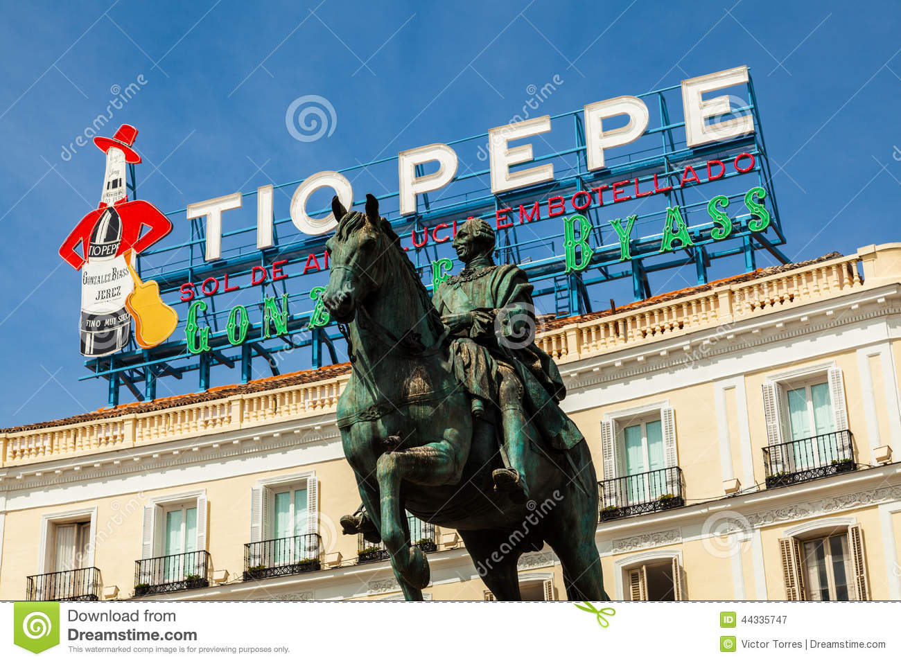 Historical Tio Pepe Sign In La Puerta Del Sol Square In