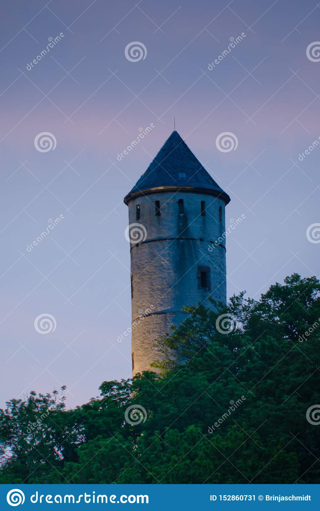 Historical tower in the pastell evening light