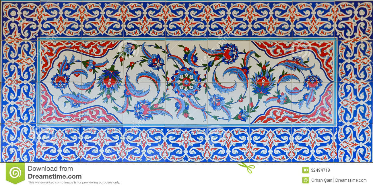 Historical Turkish Ottoman Tiles Stock Photo Image