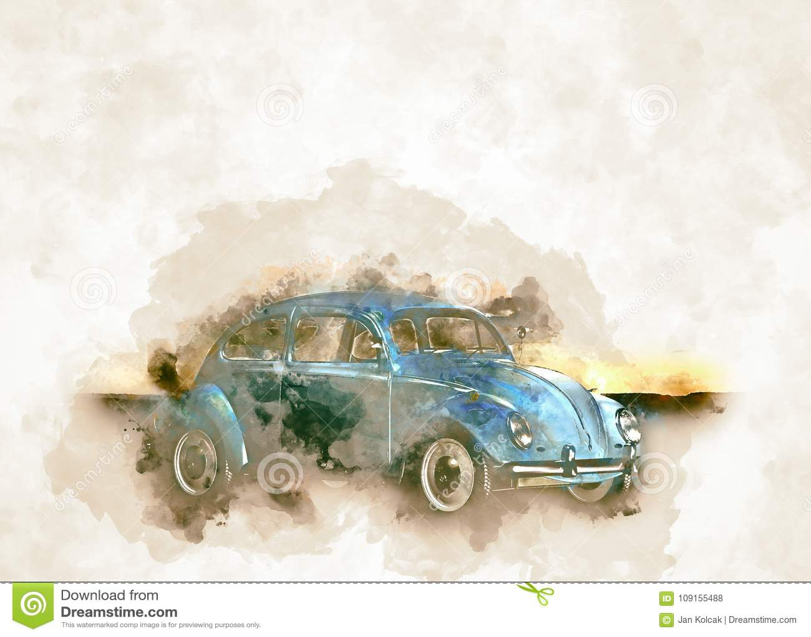 Historicaly VW samochodowa ściga w rocznik akwareli stylu