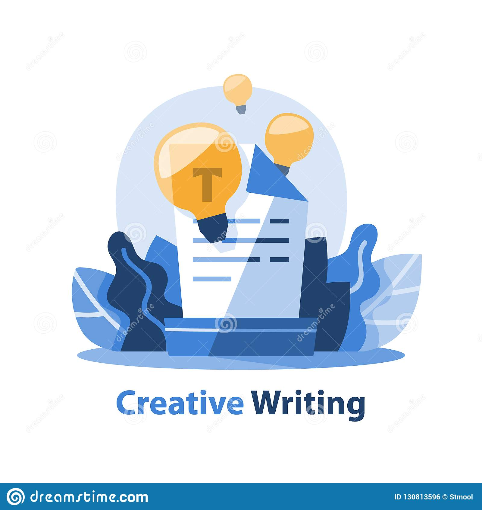 Historieberättande och idérikt skrivande begrepp, textdokument och ljus kula