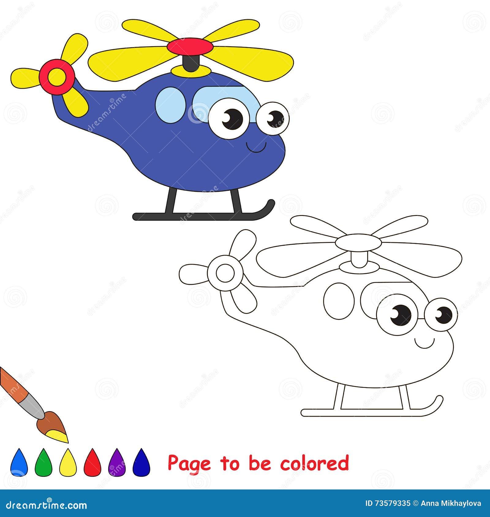 Historieta Azul Del Helicóptero Página Que Se Coloreará Stock de ...