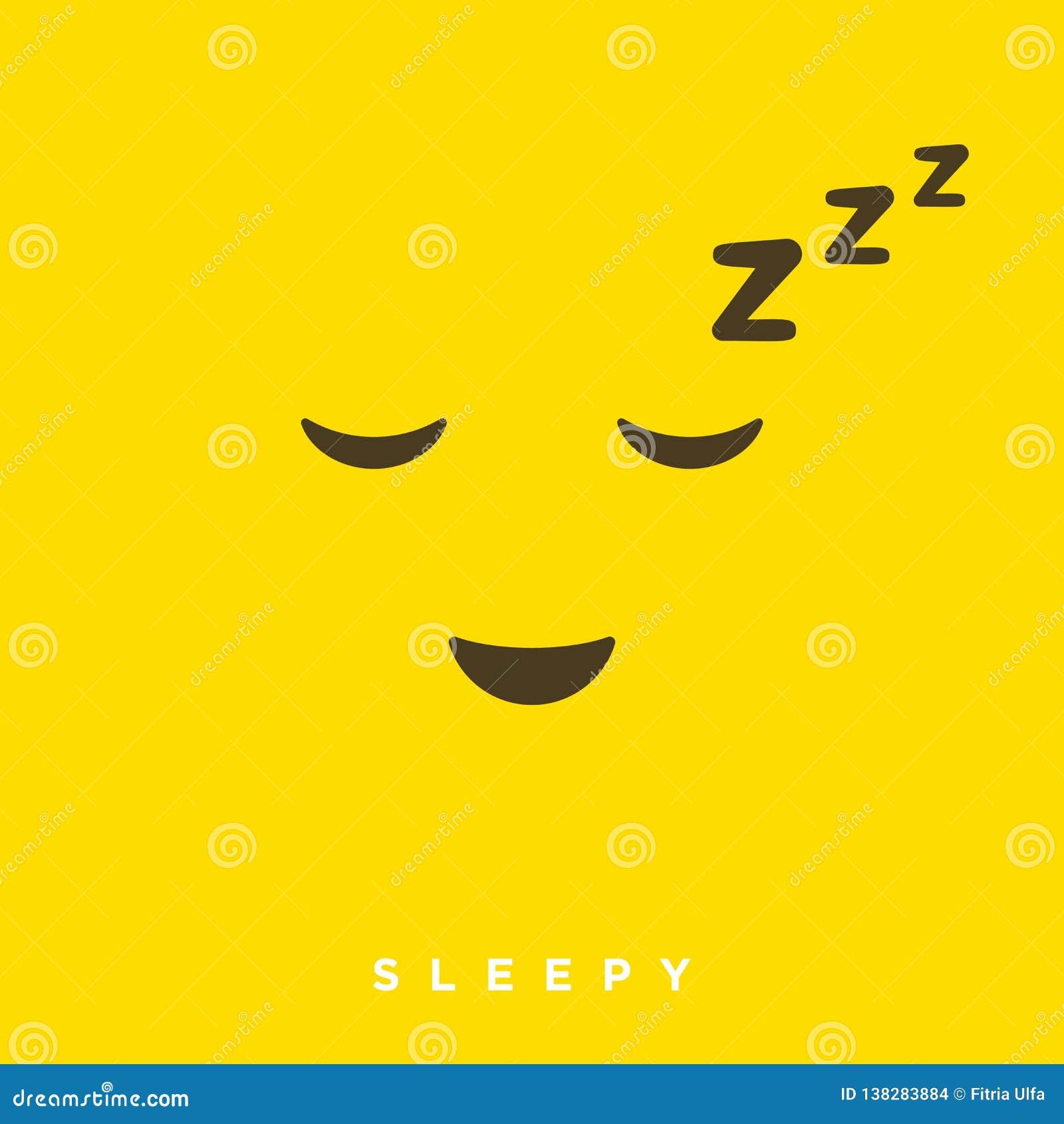 Historieta de alta calidad del vector con los emoticons soñolientos con estilo plano del diseño, reacciones sociales de los medio