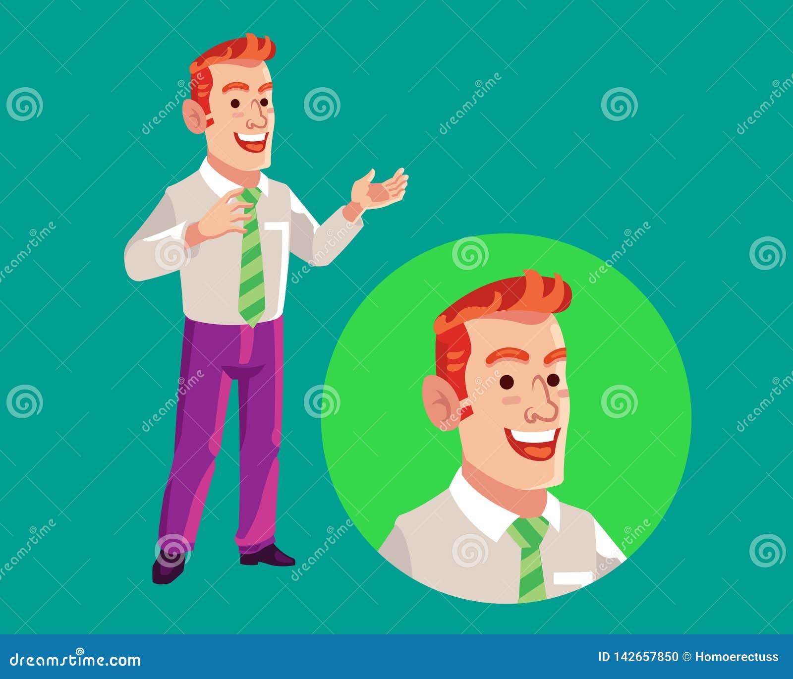 Historieta de Delivering Speech Flat del hombre de negocios
