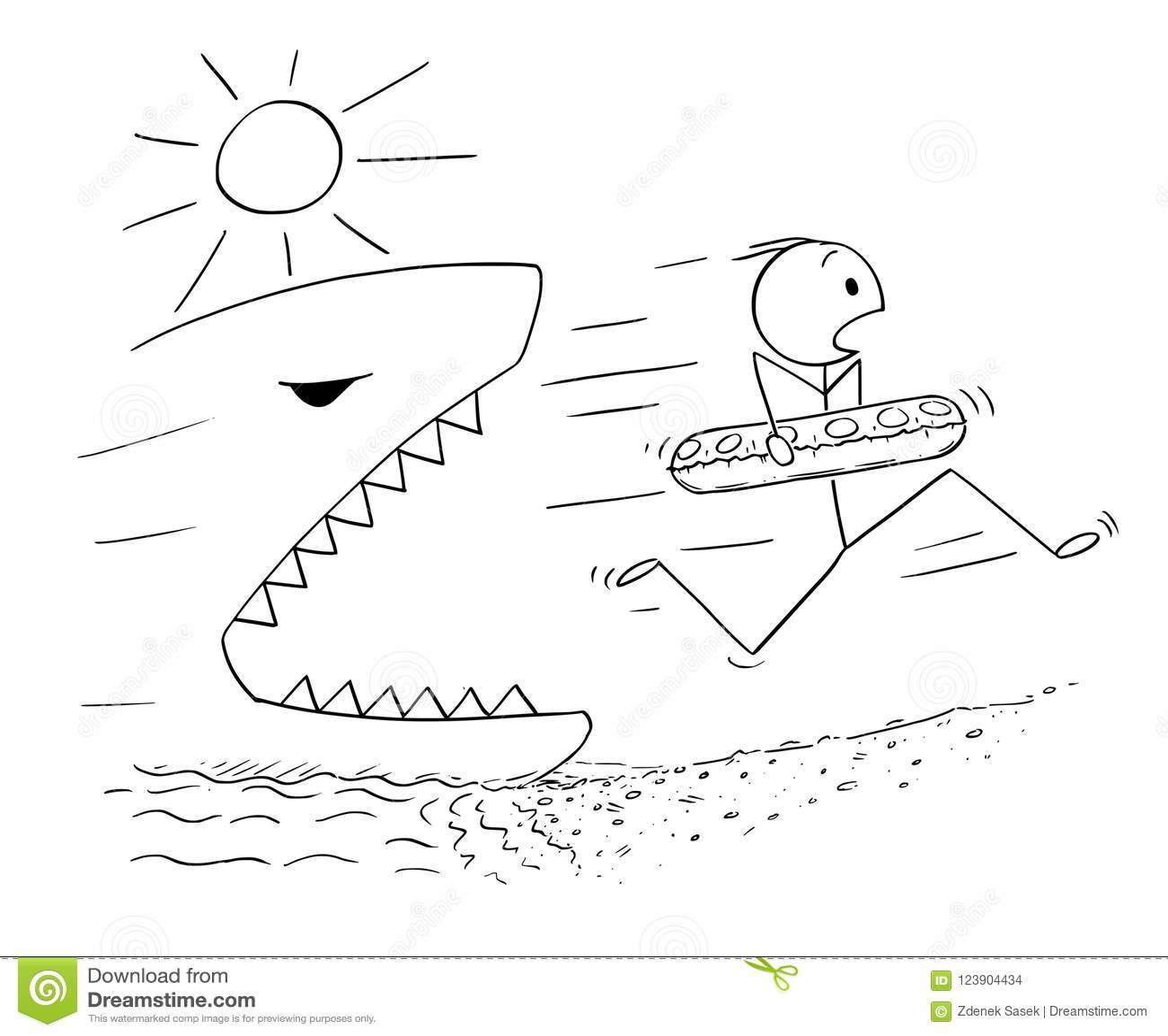 Historieta del hombre que celebra el anillo y el funcionamiento de la natación en la playa lejos del tiburón o de pescados gigant