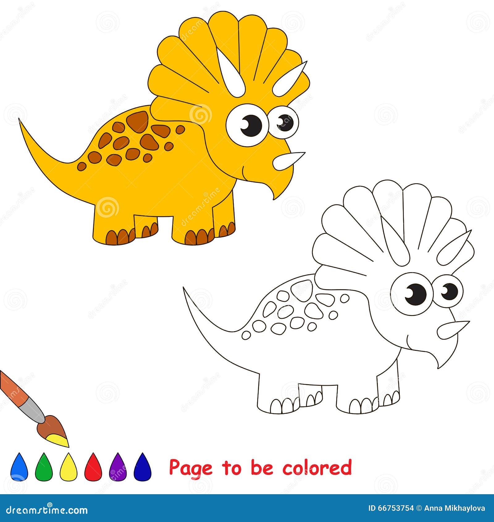 Historieta Del Triceratops Página Que Se Coloreará