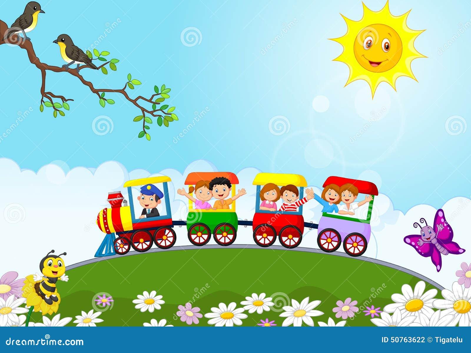 Historieta feliz de los niños en un tren colorido