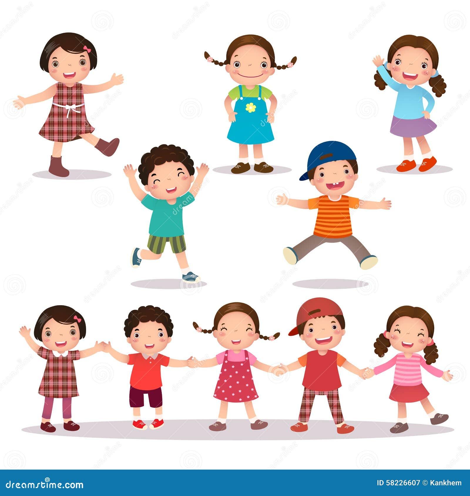 Historieta feliz de los niños que celebra las manos y el salto