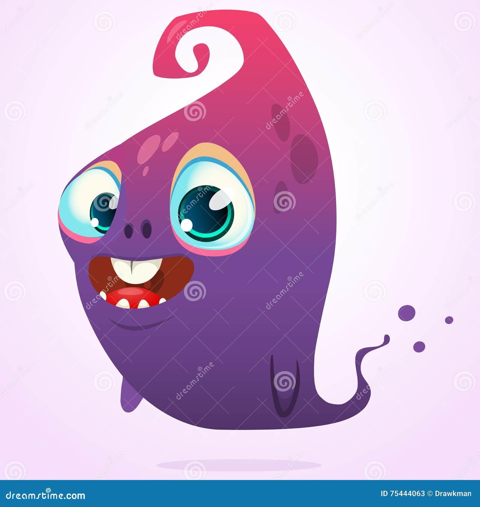 Historieta feliz rosada y carácter azul del monstruo de Halloween del vector del fantasma aislado