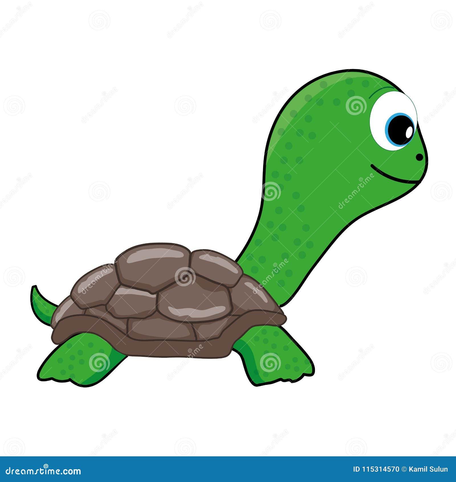 Historieta linda de la tortuga verde, clip art
