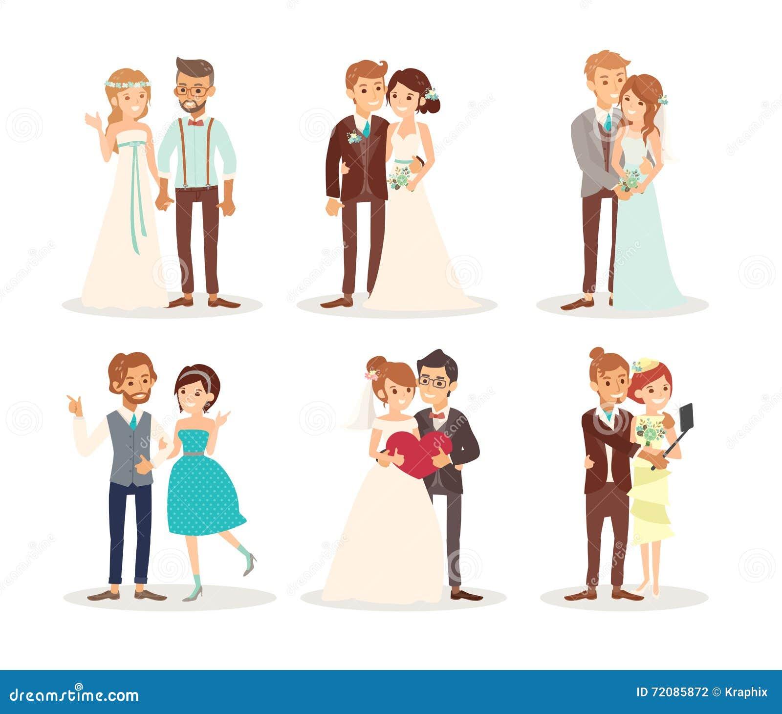 Historieta linda de novia y del novio de los pares de la boda