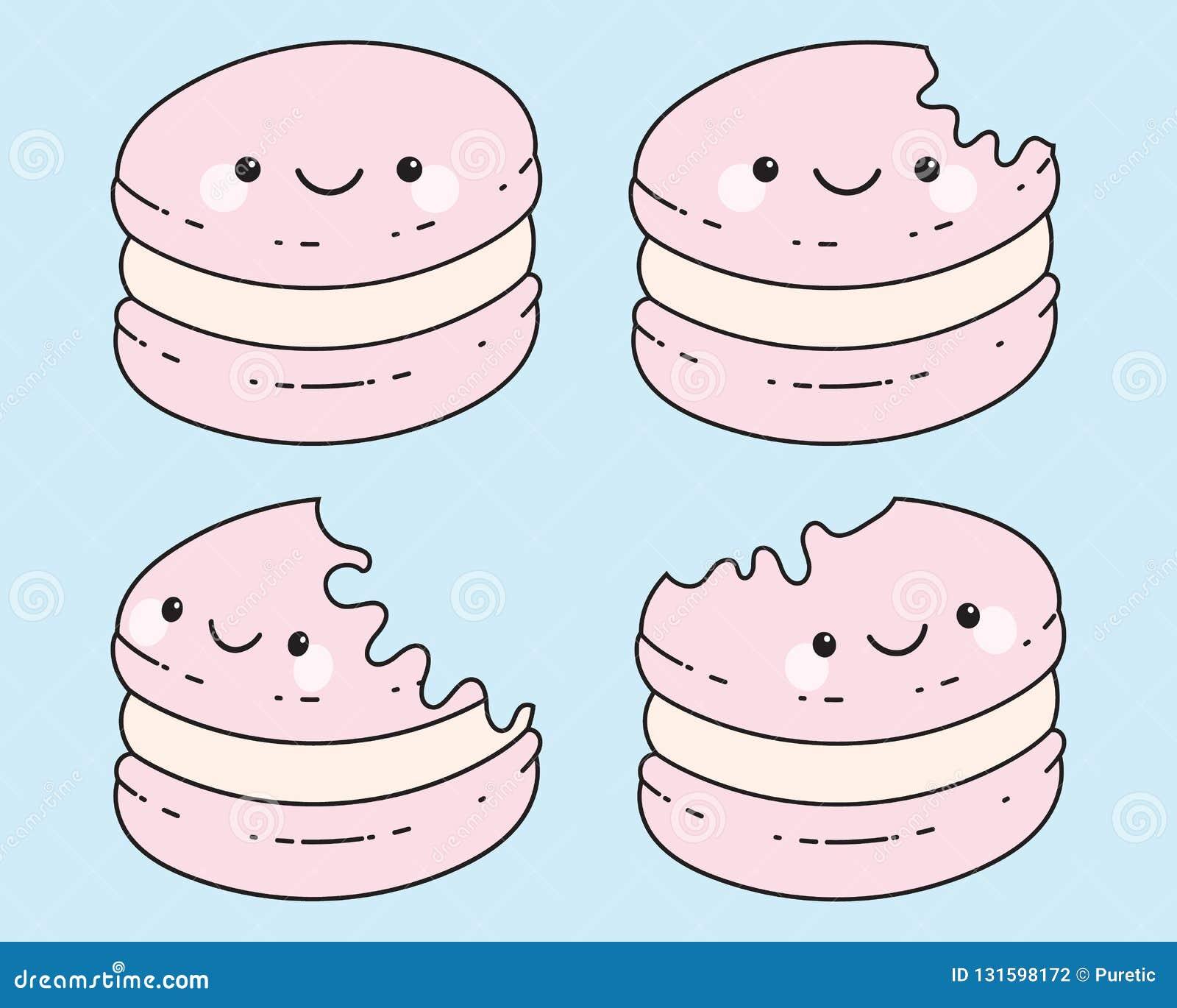 Historieta Macaron de Cuties en el fondo azul en colores pastel, colores rosados en colores pastel Ilustración del vector