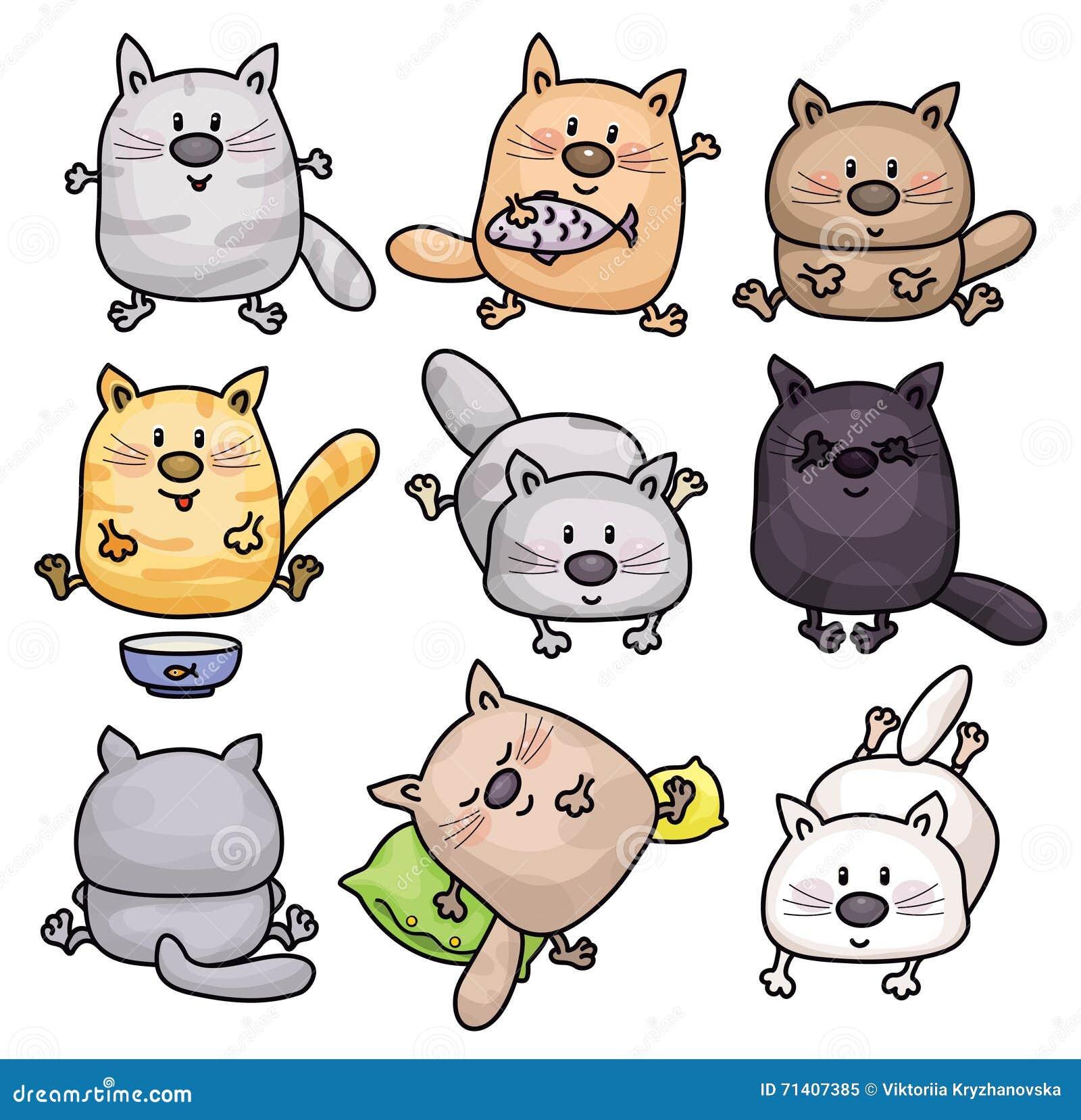 Historietas de los gatos del vector