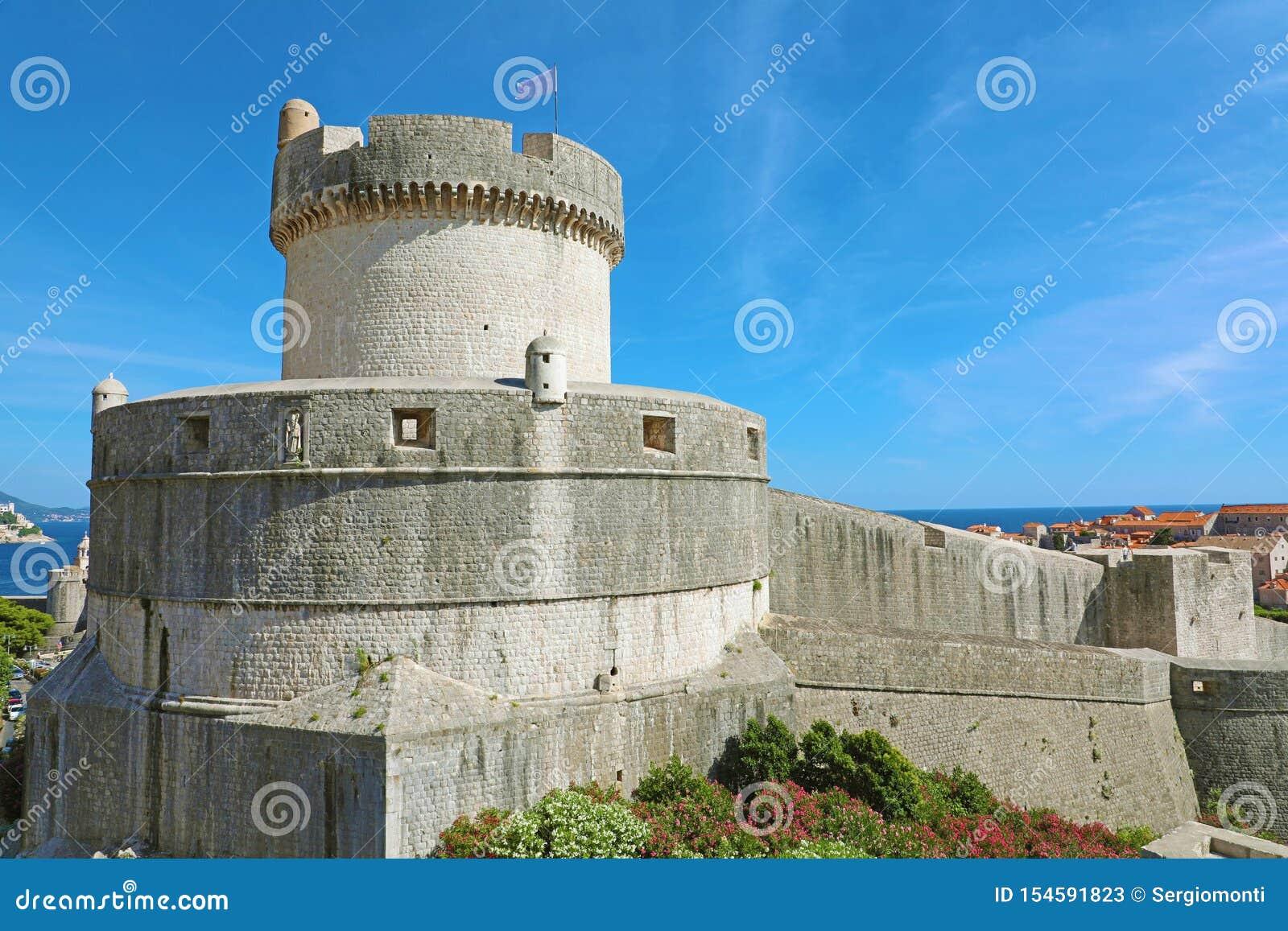 Historische Architektur in der alten Stadt Dubrovnik, ber?hmter Stadtmauermarkstein in Kroatien, Europa