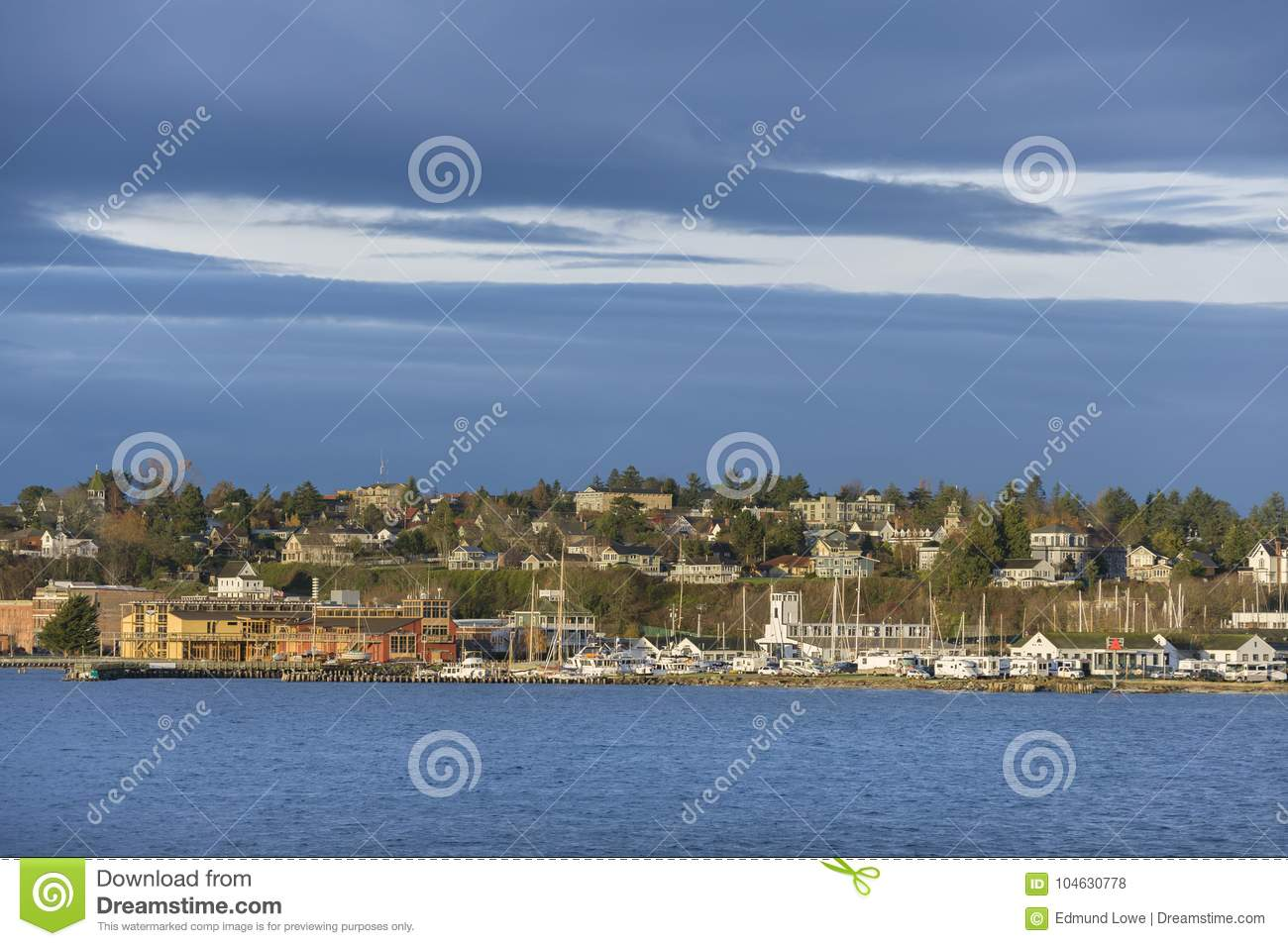 Download Historische Haven Townsend, Washington Waterfront Bij Zonsopgang Redactionele Stock Foto - Afbeelding bestaande uit juan, architectuur: 104630778