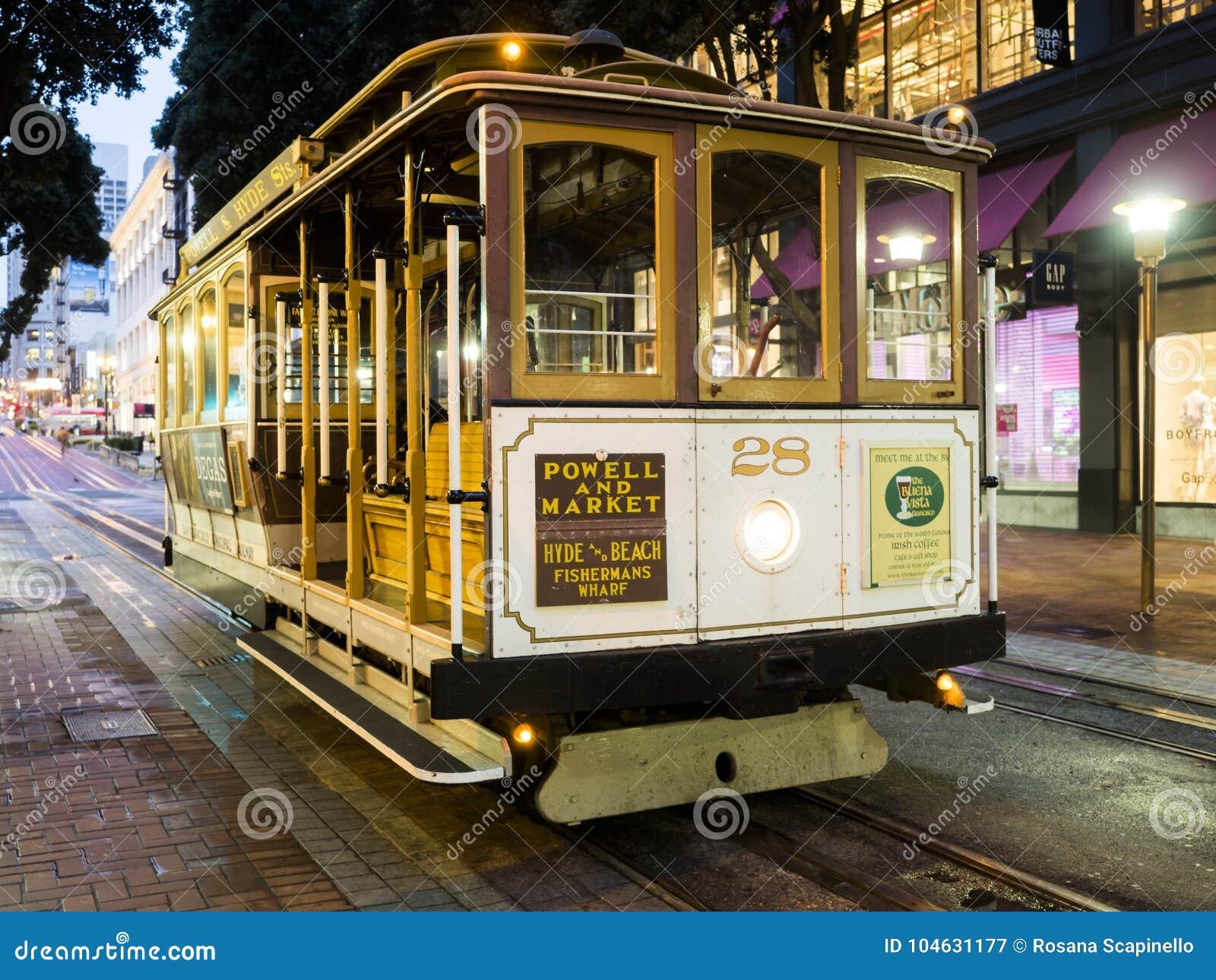 Download Historische Kabelwagen, Lijn Powell-Hyde Op 17 Augustus, 2017 - San Francisco, Californië, CA Redactionele Fotografie - Afbeelding bestaande uit building, bestemming: 104631177