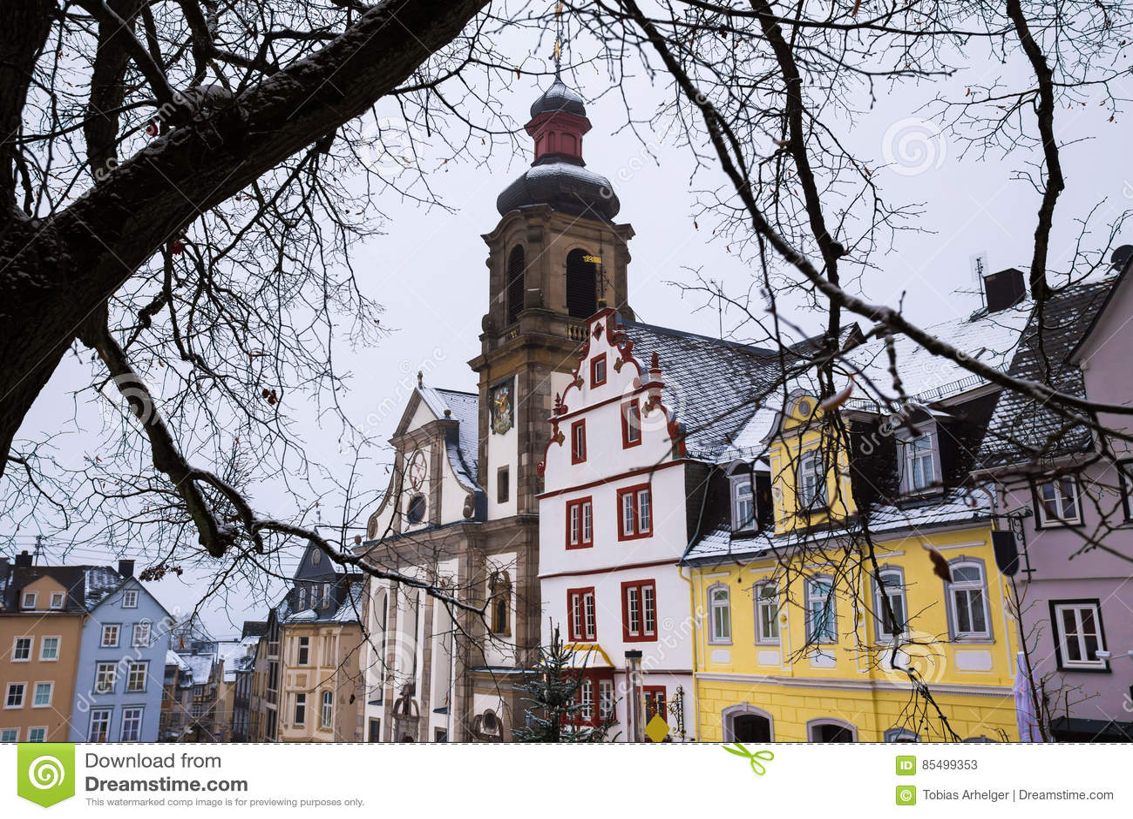 historische stadt hachenburg deutschland im winter