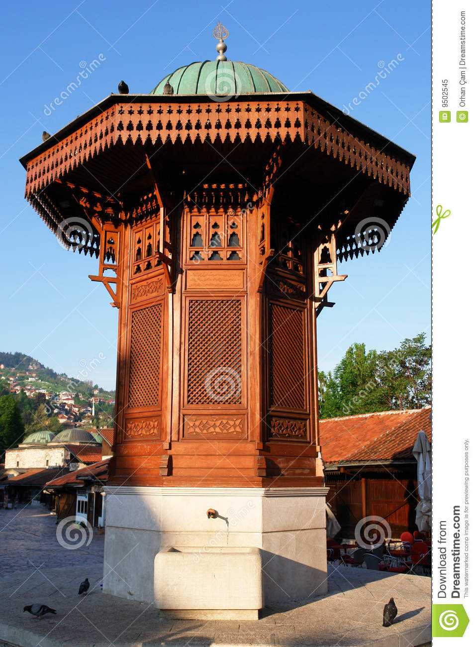 historischer fount in sarajevo bosnien herzegowina lizenzfreies stockfoto bild 9502545. Black Bedroom Furniture Sets. Home Design Ideas